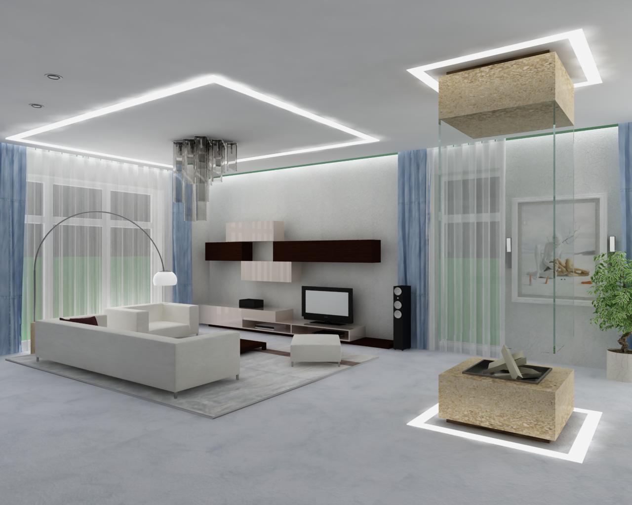 В дизайне гостиных такого размера как